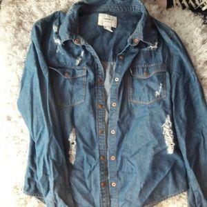 Distressed Jean Shirt